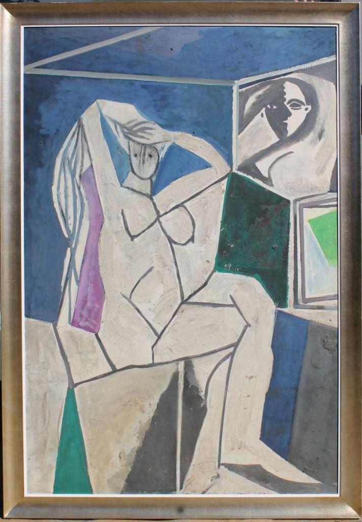 """A. Hernández """"Desnudo"""" óleo"""