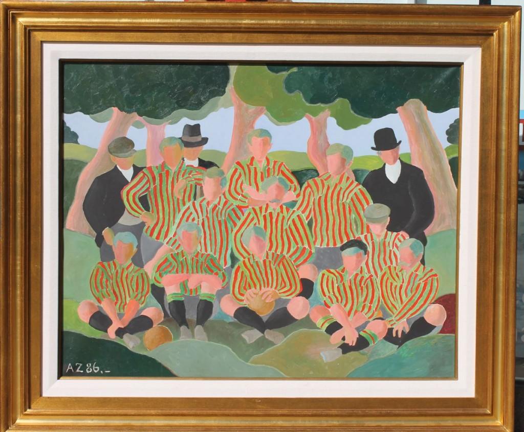 """Alfredo Zorrilla de San Martín. """"Del fútbol heroico"""" óleo sobre tela 80 x 100 cm."""