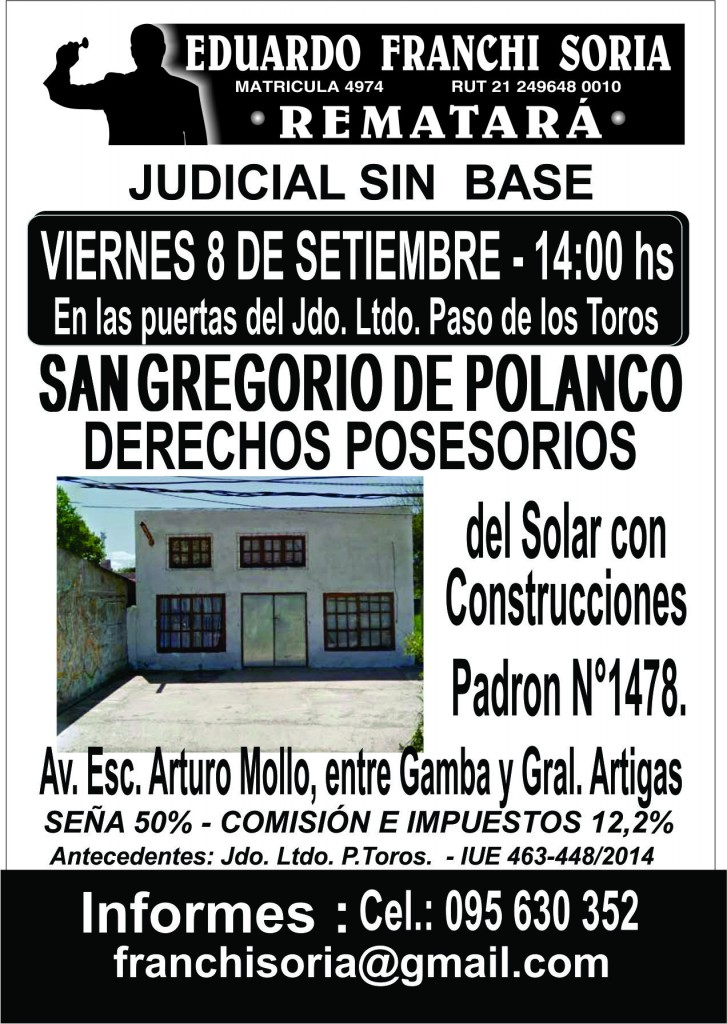 AFICHE REMATE SAN GREGORIO