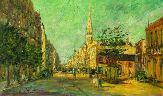 """Zoma Baitler. """"Calle soleada"""" óleo sobre tela 53 x 83 cm."""