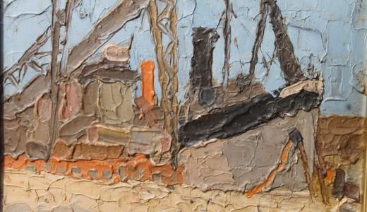 """Alfredo De Simone """"Barcos"""" óleo sobre cartón 27 x 35 cm."""