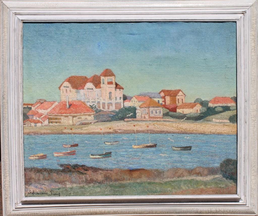 """Dolcey Schenone Puig """"Punta del Este de la década del 30"""" óleo sobre arpillera."""