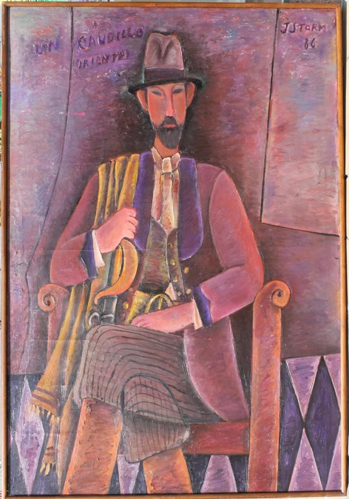 """Juan Storm. """"Un Caudillo Oriental"""" óleo sobre tela 132 x 90 cm."""