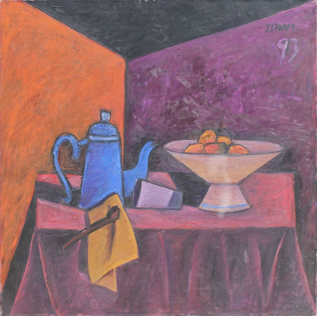"""Juan Storm. """"Naturaleza muerta con cafetera azul"""" óleo sobre tela 100 x 100 cm."""