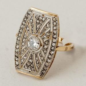 Anillo oro 18k con brillantes y diamantes