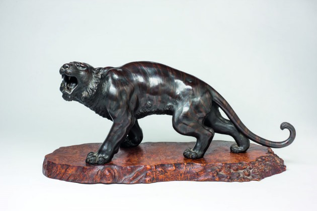 Original escultura japonesa con marcas Tigre rugiendo bronce