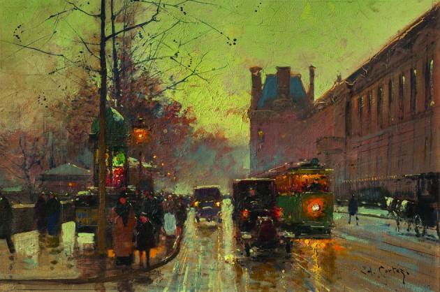 """Cortes Edouard """"Calle de París y Louvre"""" óleo sobre tela 38 x 55 cm."""