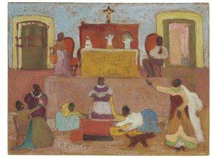 26Pedro Figari preparando la fiesta oleo s tabla
