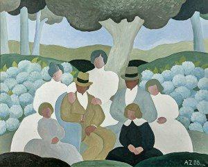 """Alfredo Zorrilla. """"Familia"""" óleo sobre tela, 80 x 100 cm."""