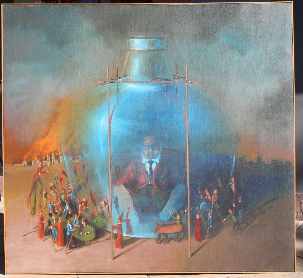 """Pedro Peralta. """"La Procesión va por fuera I"""" acrílico sobre tela 142 x 152 cm."""