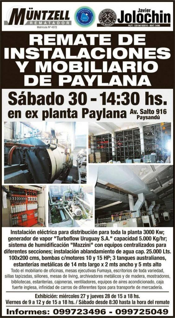 REMATE DE INSTALACIONES Y MOBILIARIO DE PAYLANA