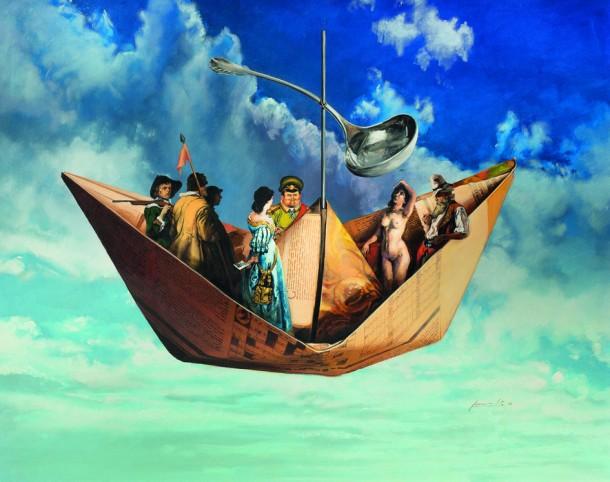 "Pedro Peralta. ""La Barca de Charly"" acrílico s/tela 96 x 120 cm."