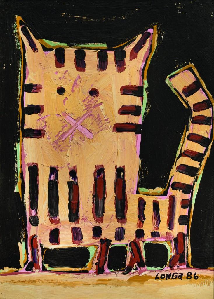 "Hugo Longa ""Gato"" óleo s/tela 34 x 25 cm."
