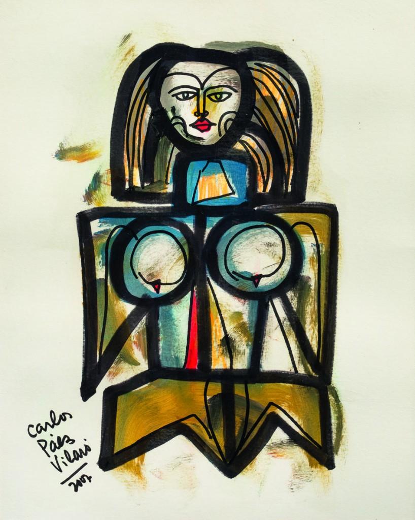 "Carlos Páez Vilaró ""Personaje"" óleo diluido s/cartón 49 x 40 cm."