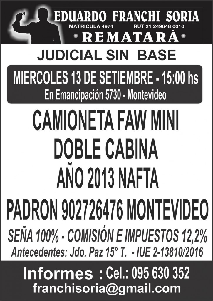 remate camioneta faw