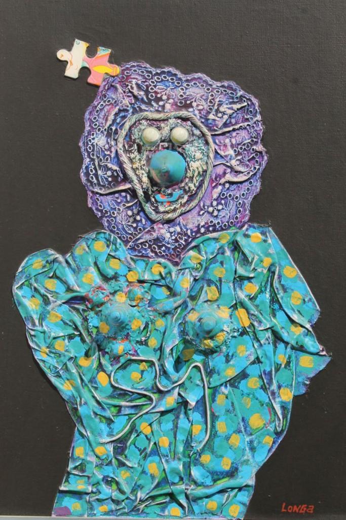 """Hugo Longa """"Zoraida - Las damas de la noche"""" acrílico, collage y materiales sobre tela 46 x 37 cm."""