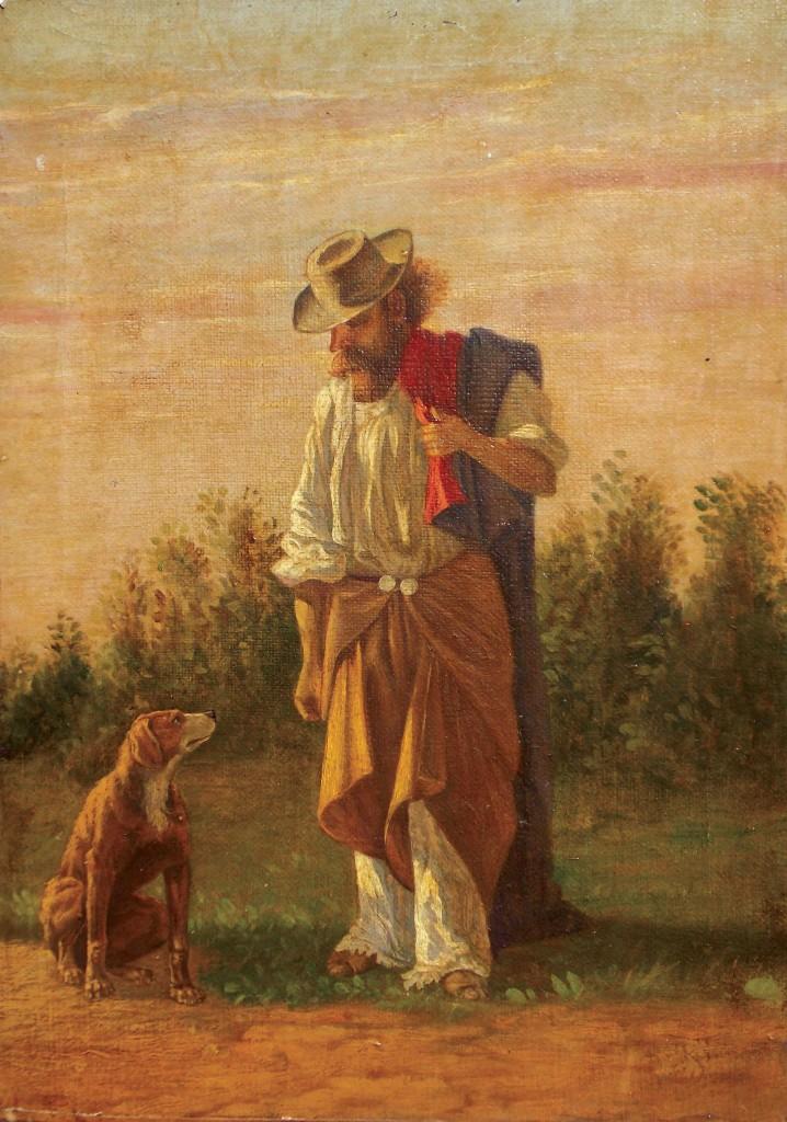 """Cuadro anónimo. óleo sobre tela """"Gaucho"""" con perro 28 x 20 cm."""