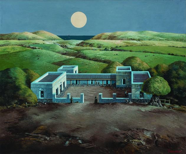 "Jorge Damiani. ""Estancia con luna"", óleo sobre tela 104 x 124  cm."