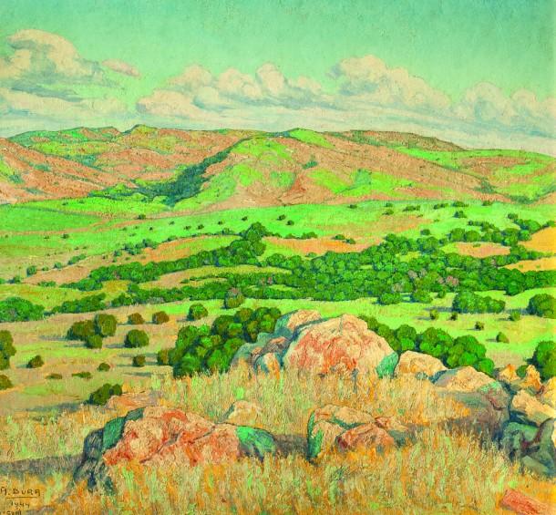 """Alberto Dura. """"Paisaje de Aigua"""" óleo sobre cartón 75 x 78 cm."""
