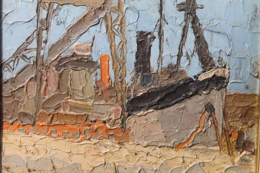 Alfredo De Simone Barcos óleo sobre cartón 27 x 35 cm.