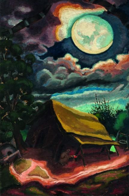 """José Cuneo. """"Luna, rancho y dormilones"""" óleo sobre tela 147 x 98 cm."""