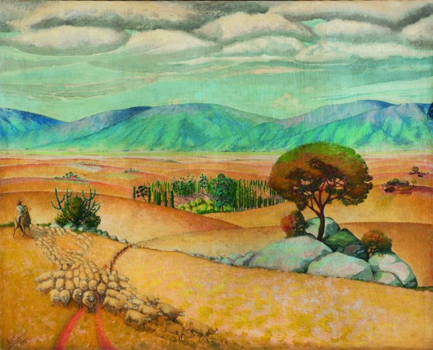 """José Cuneo. """"Paisaje de Minas con tropero y majada"""" óleo sobre tela 220 x 270 cm."""