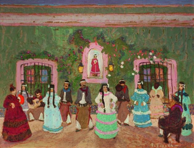 """Pedro Figari. """"Baile criollo"""" óleo sobre cartón 62,5 x 83 cm."""