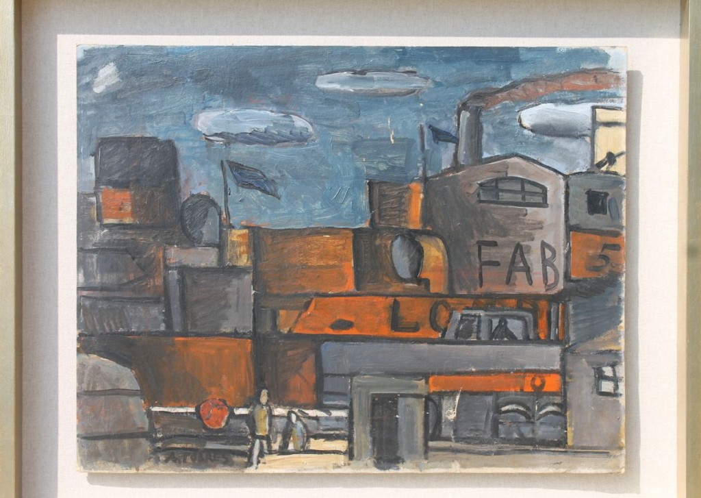 """Augusto Torres """"Puerto de Montevideo"""" Constructivo óleo sobre cartón 52 x 66 cm."""