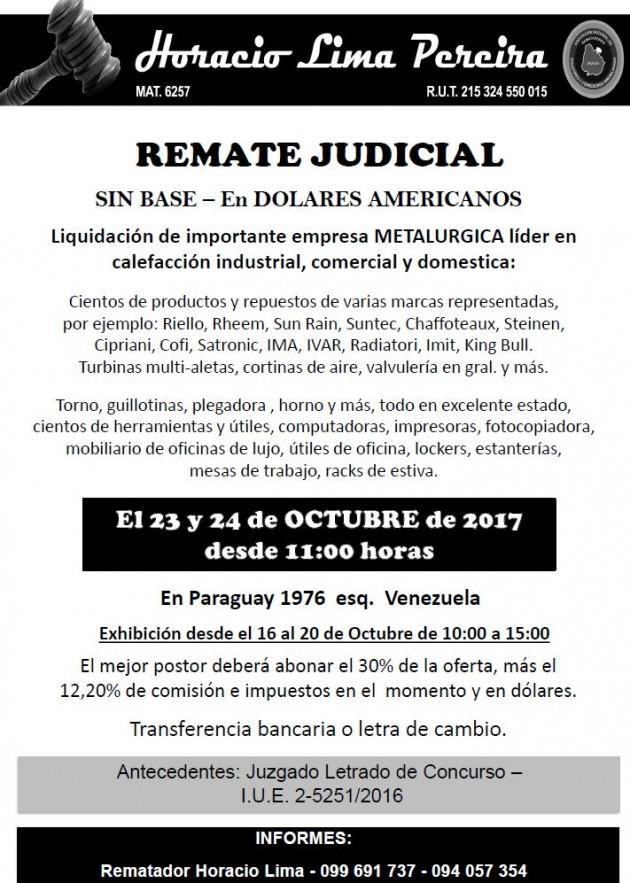 LIQUIDACIÓN DE IMPORTANTE EMPRESA METALURGICA