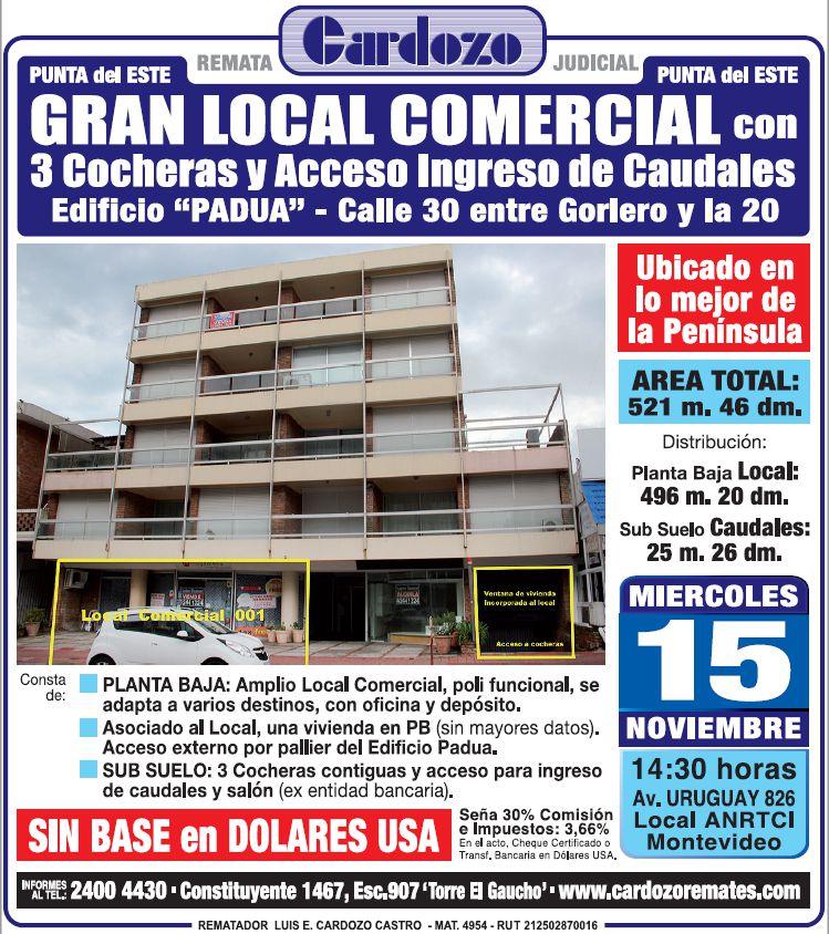 LOCAL COMERCIAL Y COCHERAS EN PUNTA DEL ESTE