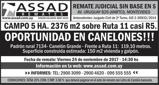 CAMPO DE 5 HÁS EN CANELONES SOBRE RUTA 11 CASI RUTA 5