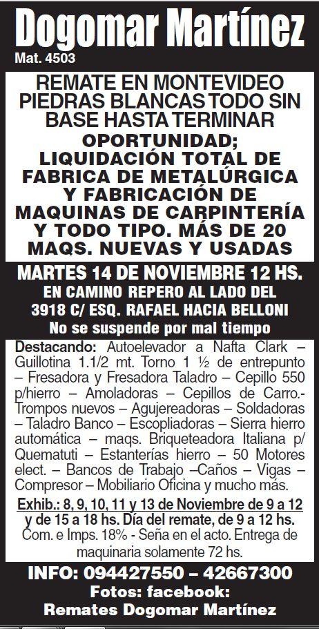 REMATE LIQUIDACIÓN TOTAL DE FABRICA METALÚRGICA