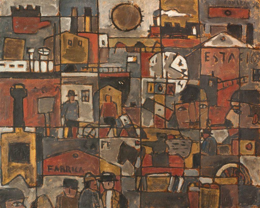 """Gonzalo Fonseca """"Constructivo estación"""" óleo sobre cartón 80 x 100 cm."""
