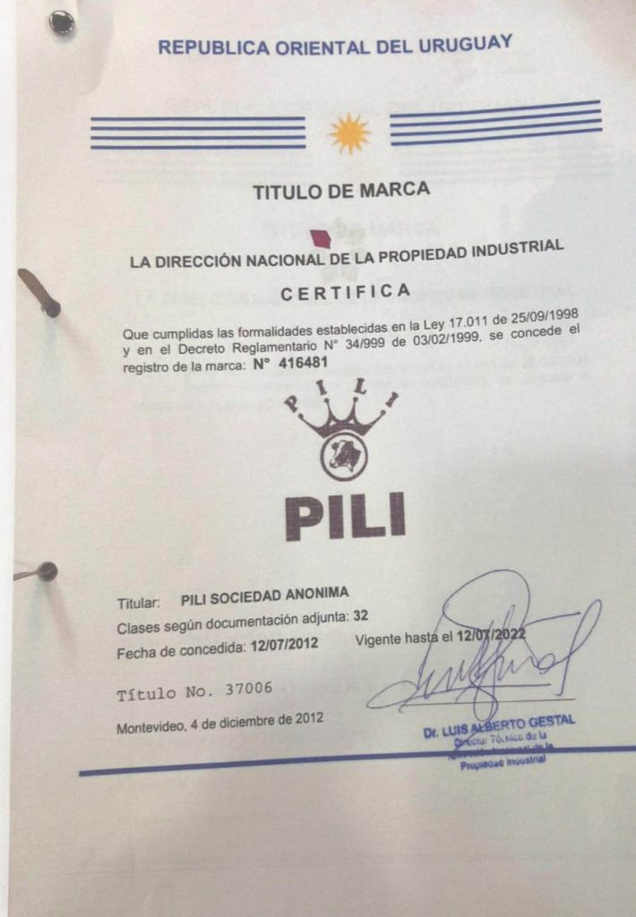 Marcas Registradas Pili s.a. Remate Prorrogado hasta nuevo aviso