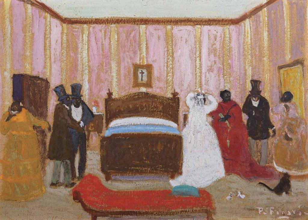 """Lote 39 Pedro Figari (1861 - 1938) """"Los últimos consejos"""" Óleo sobre cartón; 50 x 70 cm."""