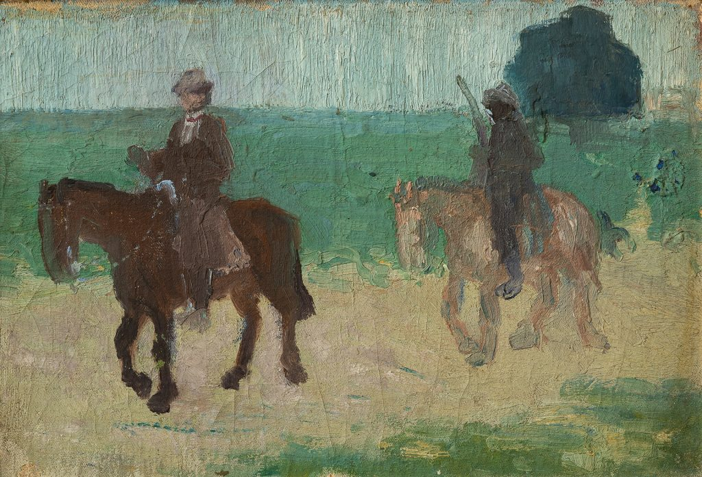 """Lote 48 Pedro Figari """"Artigas y su asistente"""" óleo sobre cartón 23 x 34 cm. Sin firma"""