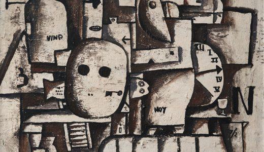 """Lote 55. José Gurvich """"Composición con reloj"""" óleo sobre cartón 30 x 39 cm. firmado abajo derecha y fechado 63."""